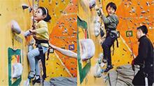 刘烨晒诺一和霓娜玩攀岩:哥小时候上房揭瓦