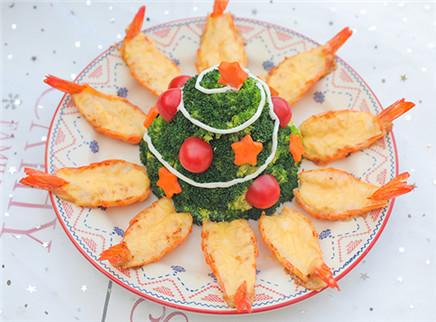 【厨娘物语】做颗可以吃的圣诞树,再配上浓浓芝士的大虾,一口下去简直太美味啦